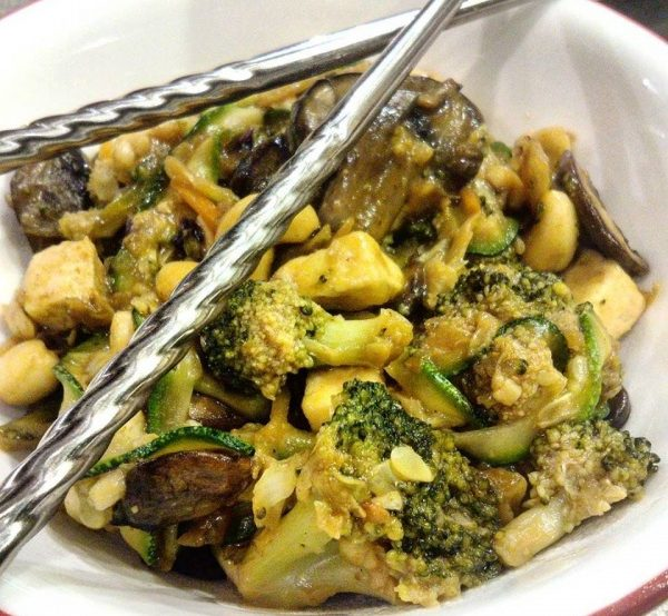 Portobello Broccoli Stir-Fry with Zoodles and Cashews Recipe