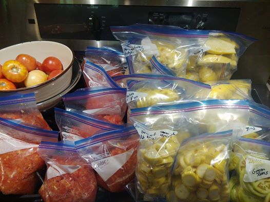 Some of the squash and tomatoes I put away. A lot of it was already in the freezer or given away.