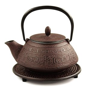 Cast Iron Teapot with an Aztec design - our 5th anniversary gift