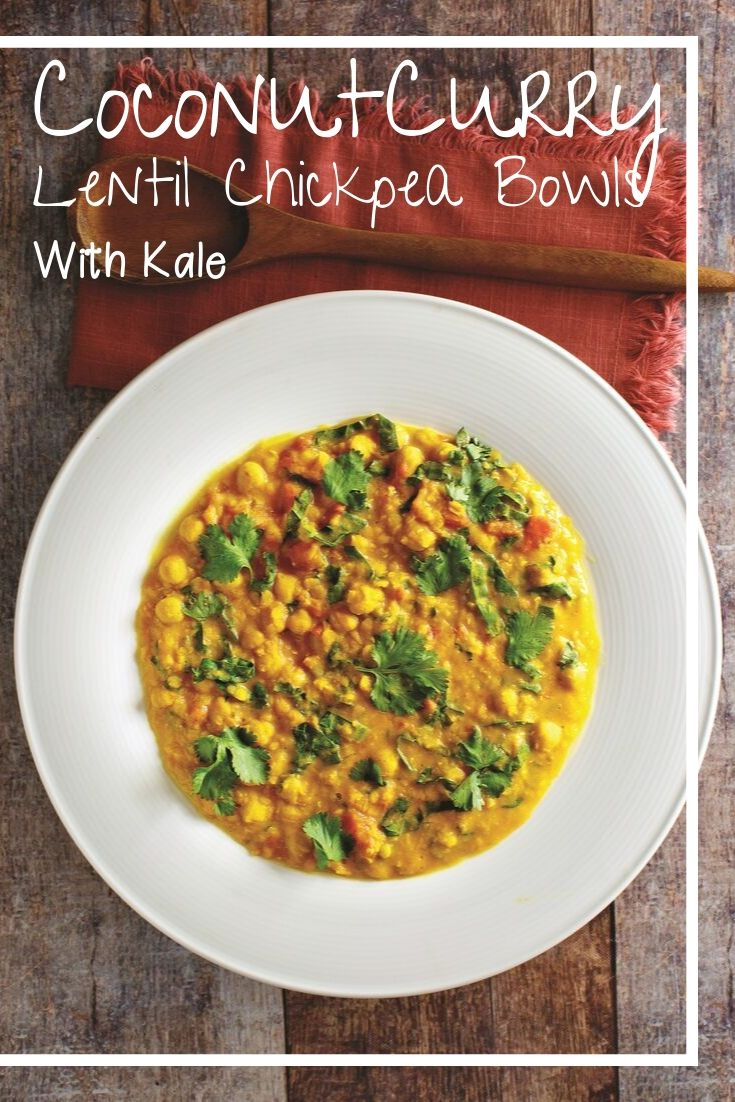 Coconut Curry Lentil Chickpea Bowls with Kale Instant Pot Recipe