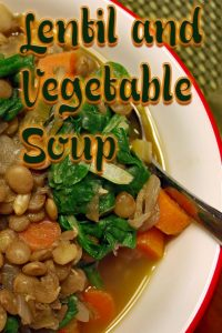This delicious Lentil and Vegetable vegan soup is deceptively low in calories! At about 190 calories per serving, you get 17 grams of protein, 20 grams of fiber and a dose of nutrition to keep you going through the fall months.