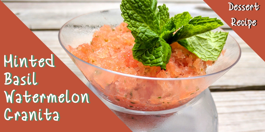 Frozen Fruit Granitas keep you cool on hot summer days. This refreshing low-calorie watermelon granita has very little added sugar and has an unexpected twist of basil
