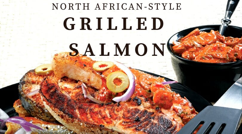 North African Grilled Salmon, one of many grilling recipes in the Char-Broil Great Book of Grilling