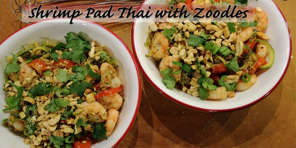 Shrimp Pad Thai with Zoodles Spiralized Zucchini