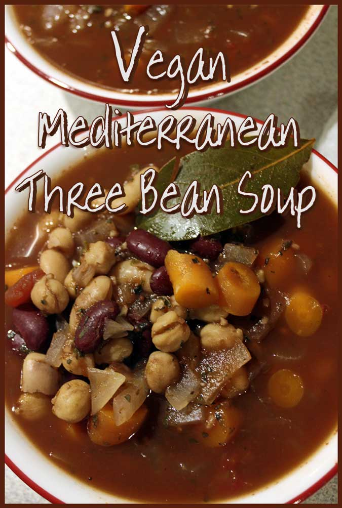 This delicious Vegan Three Bean Mediterranean soup adds wine to the broth for an interesting, rich depth. Substitute more vegetable broth if you prefer to cook without the wine. It's vegan, low-calorie, high fiber, and high protein to keep you full!
