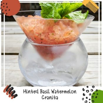 Frozen Fruit Granitas keep you cool on hot summer days. My refreshing low-calorie minted basil watermelon granita has very little added sugar and has an unexpected twist of basil