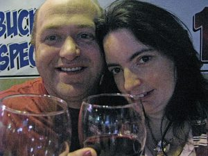 David and I enjoy a glass of wine on one of our first dates