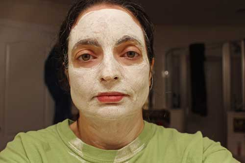 Me wearing Valentia Clay Mask - When it looks like this, wash it off