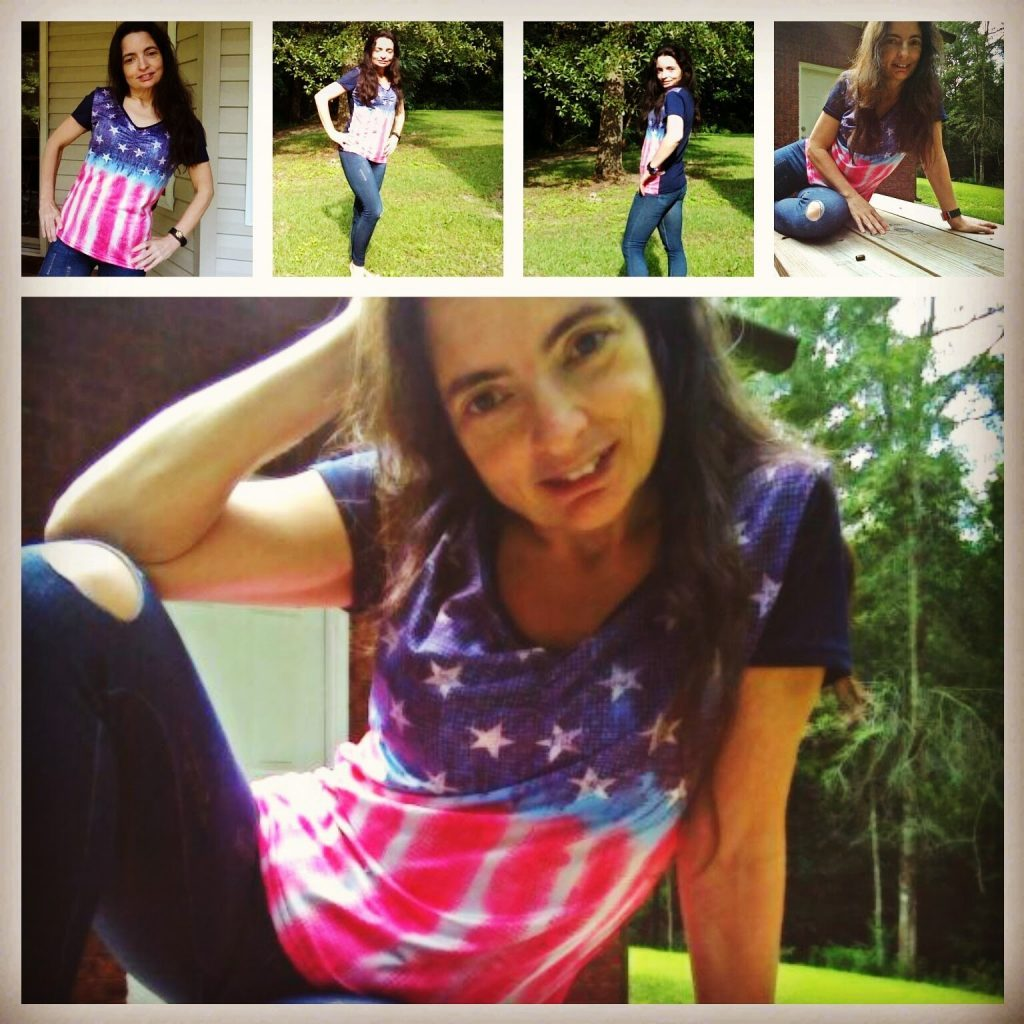 Feeling like an All-American girl in my USA Flag shirt and distressed leggings. Totally ready for Olympic viewing!