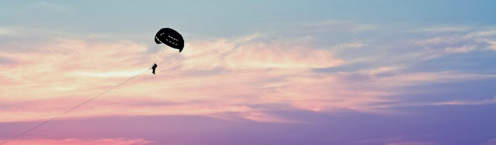 Parasailing over Pensacola Beach at Sunset